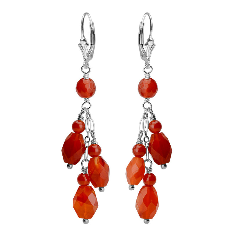 Cascade of Fiery  Carnelian Stones Sterling Silver Earrings