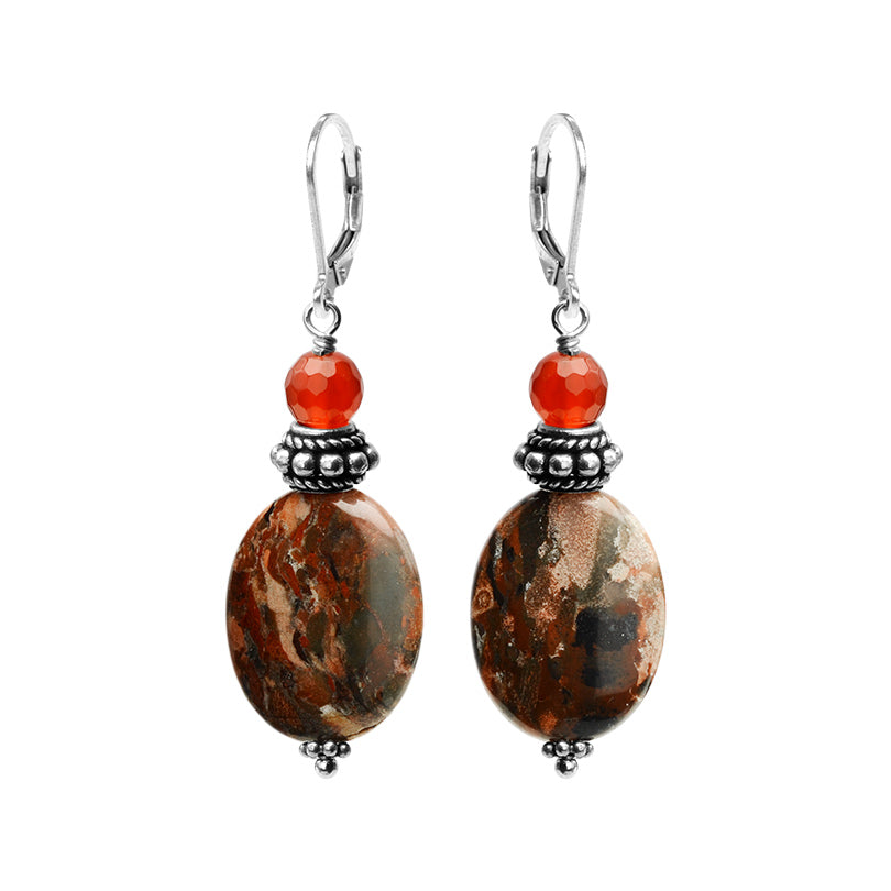 Beautiful Natural Jasper with Brilliant Carnelian Sterling Silver Earrings