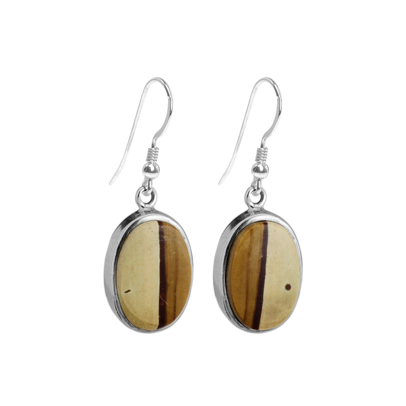 Good Contrasting Textures of Picture Jasper Sterling Silver Earrings-one pair