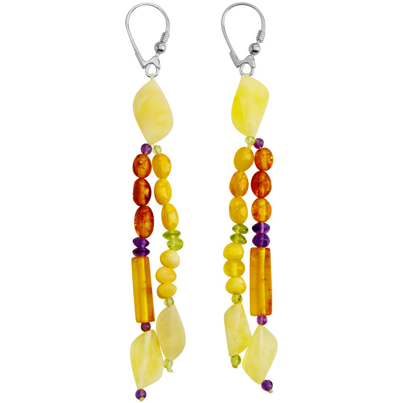 Polish Designer Yellow & Cognac Baltic Amber with Peridot & Amethyst Accents Sterling Silver Earrings