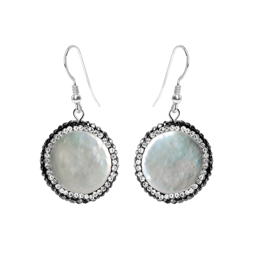 Beautiful Fresh Water Pearl,Hematite and Crystal Sterling Silver Earrings