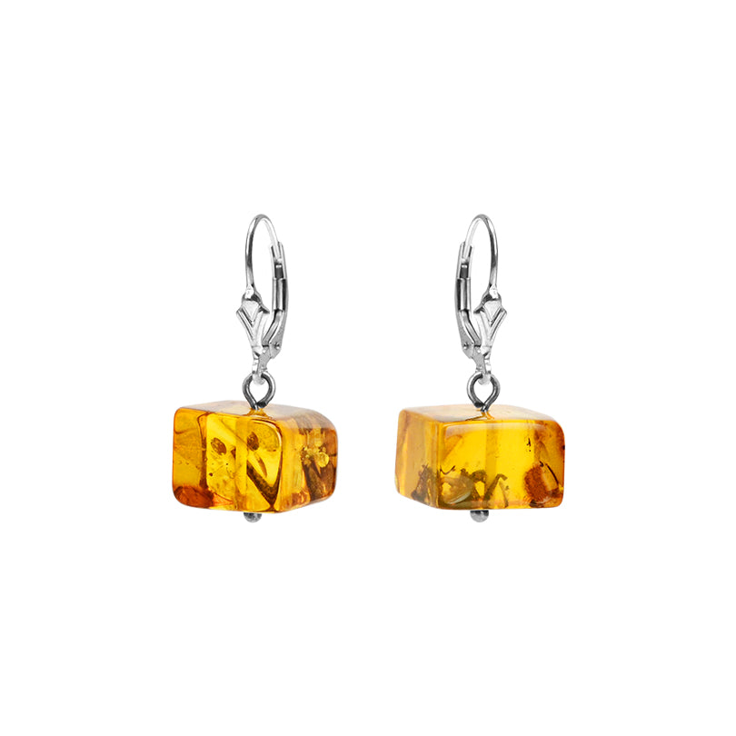 Cute Square Cut Cognac Baltic Amber Sterling Silver Earrings