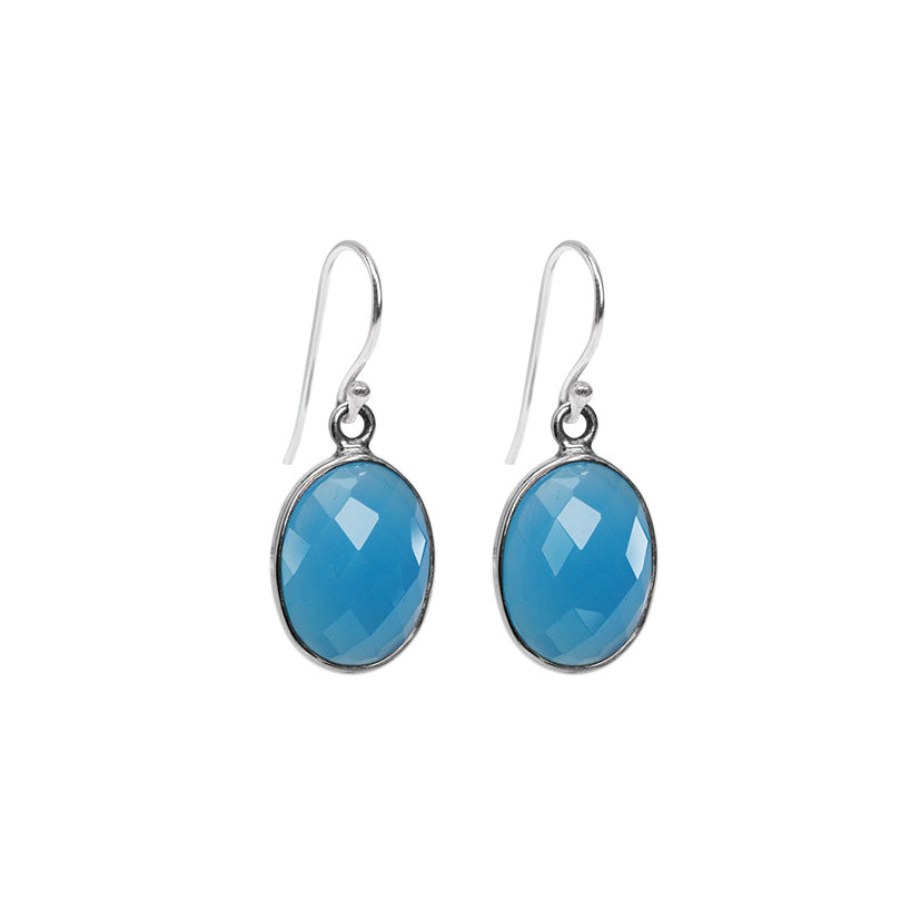 Precious Periwinkle Blue Chalcedony Sterling Silver Earrings