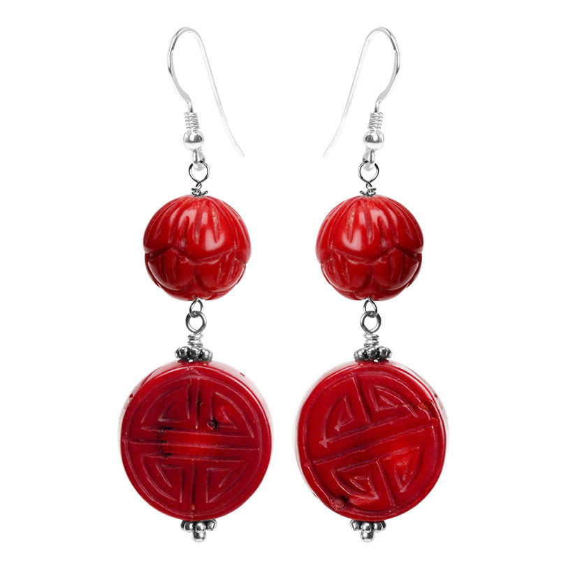 Luxurious, Deep Red Carved Coral Sterling Silver Earrings
