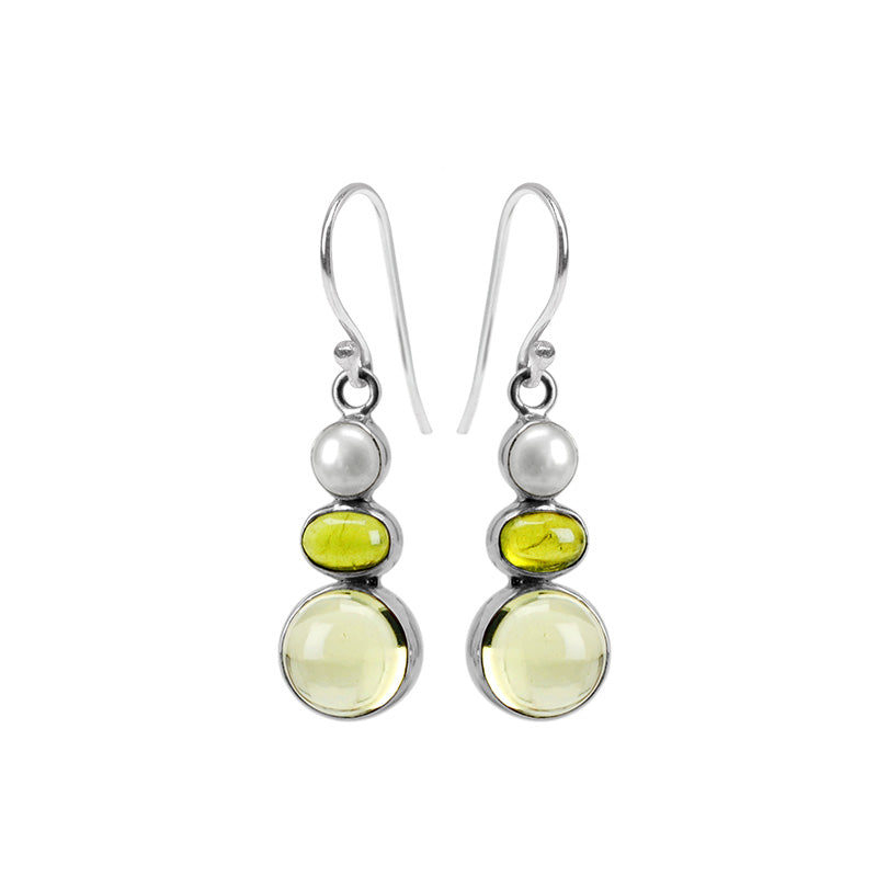 Beautiful Clear Lemon Quartz, Green Idocrase & Pearl Sterling Silver Earrings