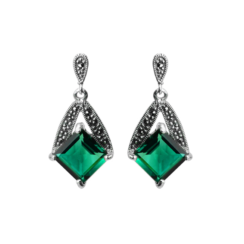 Lovely Faceted Siberian Green Emerald Quartz and Marcasite Sterling Silver Earrings