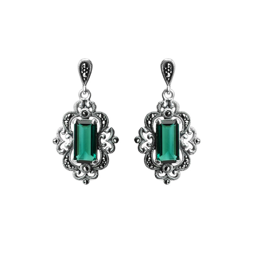 Gorgeous Faceted Siberian Emerald Green Quartz and Marcasite Sterling Silver Earrings