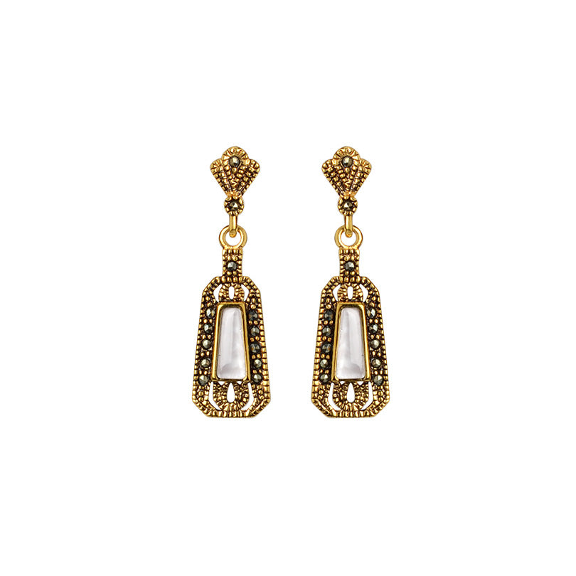 Petite La Reina 14kt Gold Plated White Mother of Pearl and Marcasite Earrings