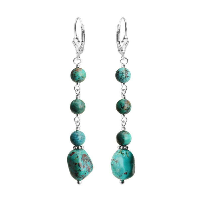 Genuine Petite Stones of Turquoise Sterling Silver Earrings