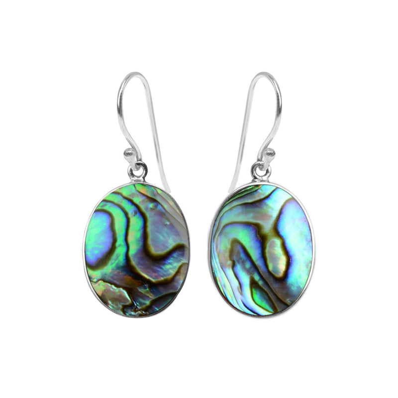 Luxurious Abalone & Coral Sterling Silver Reversible Earrings