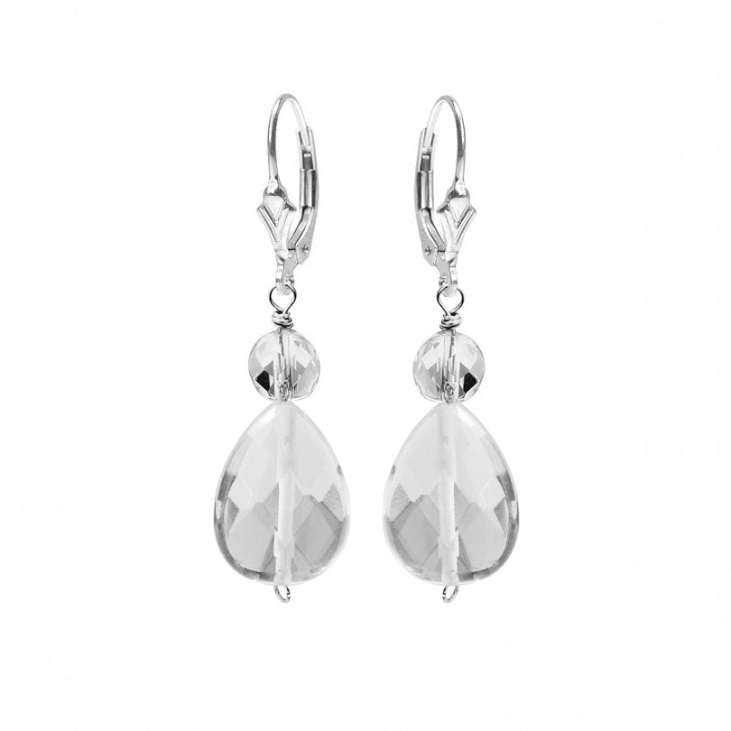 Glimmering Faceted Quartz Sterling Silver Earrings