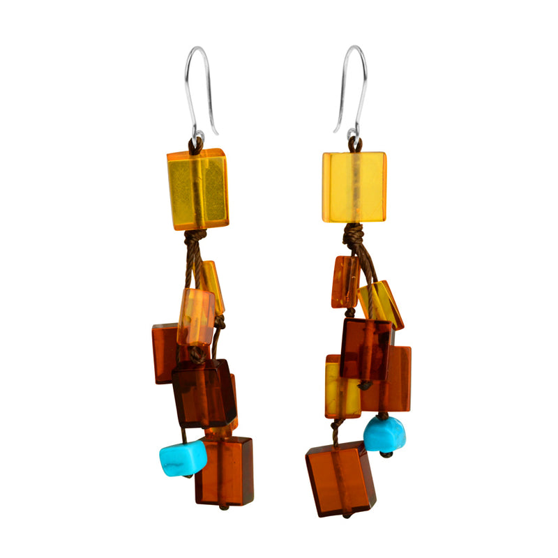 Rich Colors of Cognac Amber and Sleeping Beauty Turquoise Sterling Silver Earrings.