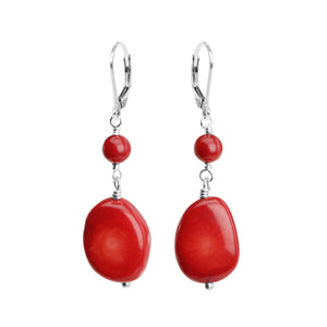 Classy Coral Sterling Silver Medium Size Earrings