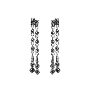 Delicate Dangle Marcasite Sterling Silver Earrings
