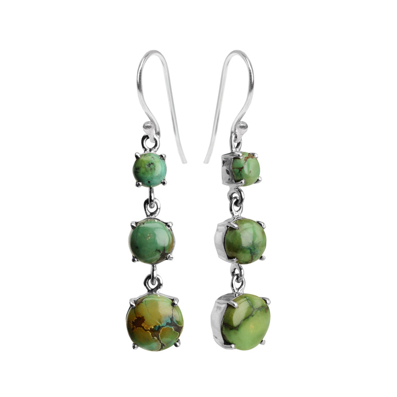 Exquisite Green Genuine Turquoise Sterling Silver Earrings