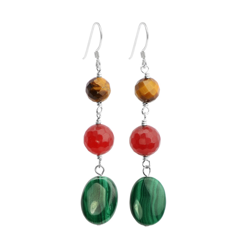 Exquisite Color Combination of Malachite, Tiger's Eye and Red Jade Sterling Silver Earrings