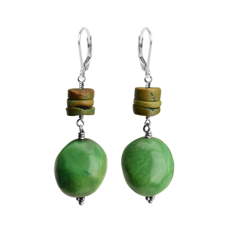 Gorgeous Green Turquoise Sterling Silver Earrings