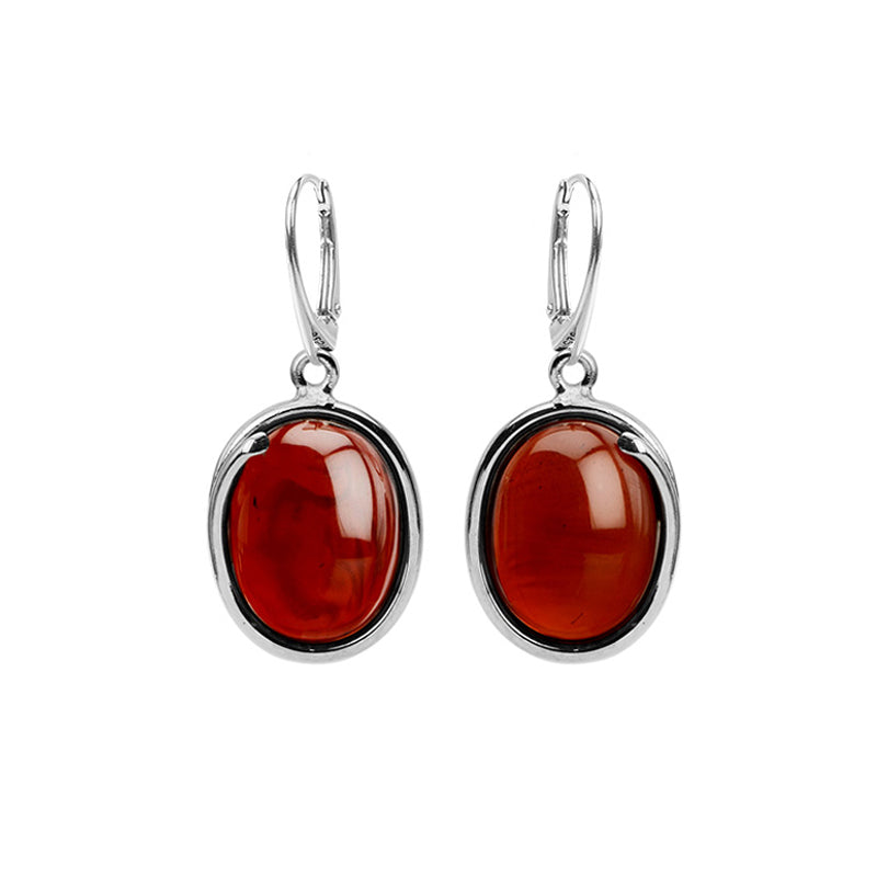 Stunning Cherry Baltic Amber Large Stone Sterling Silver Statement Earrings