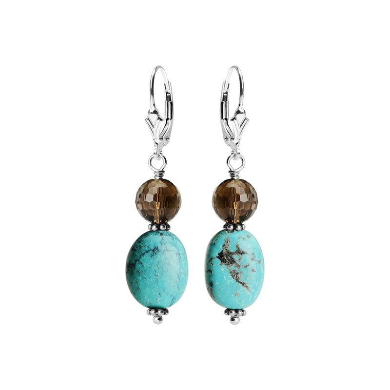Genuine Turquoise and Smoky Quartz Sterling Silver Earrings