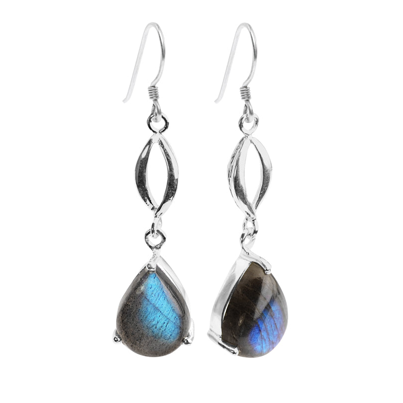 Gorgeous Shimmery Blue Labradorite Sterling Silver Earrings