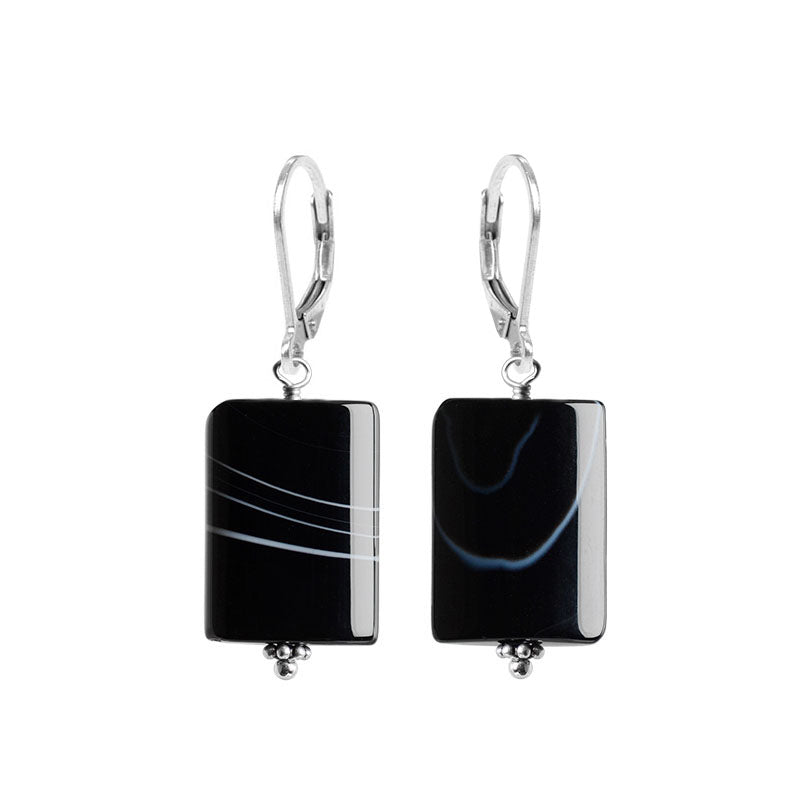 Striking Black Onyx Banded Agate Sterling Silver Earrings