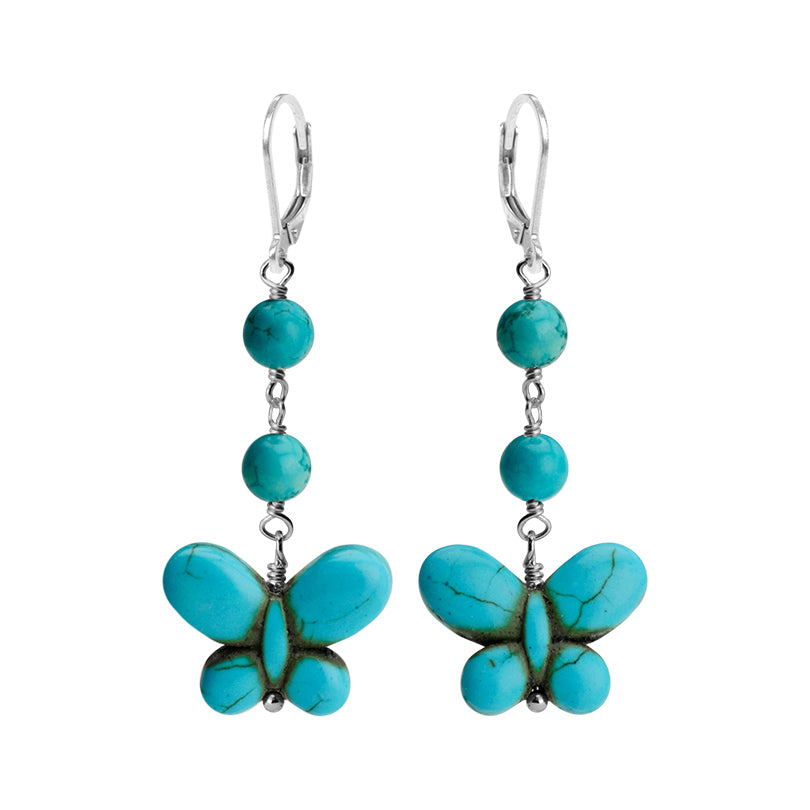 So Cute Butterfly Turquoise Color Magnesite Sterling Silver Earrings