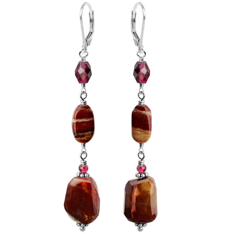 Colorful Red Moukaite Jasper and Garnet Sterling Silver Earrings