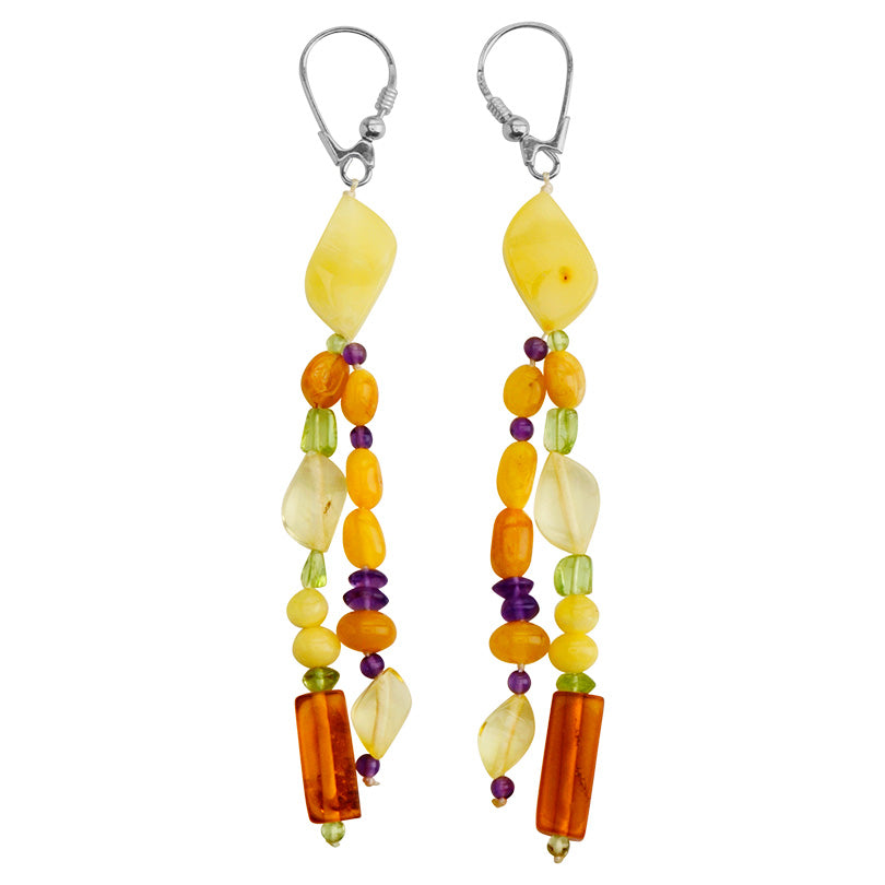 Colorful Polish Designer Baltic Amber, Peridot and Amethyst Sterling Silver Earrings