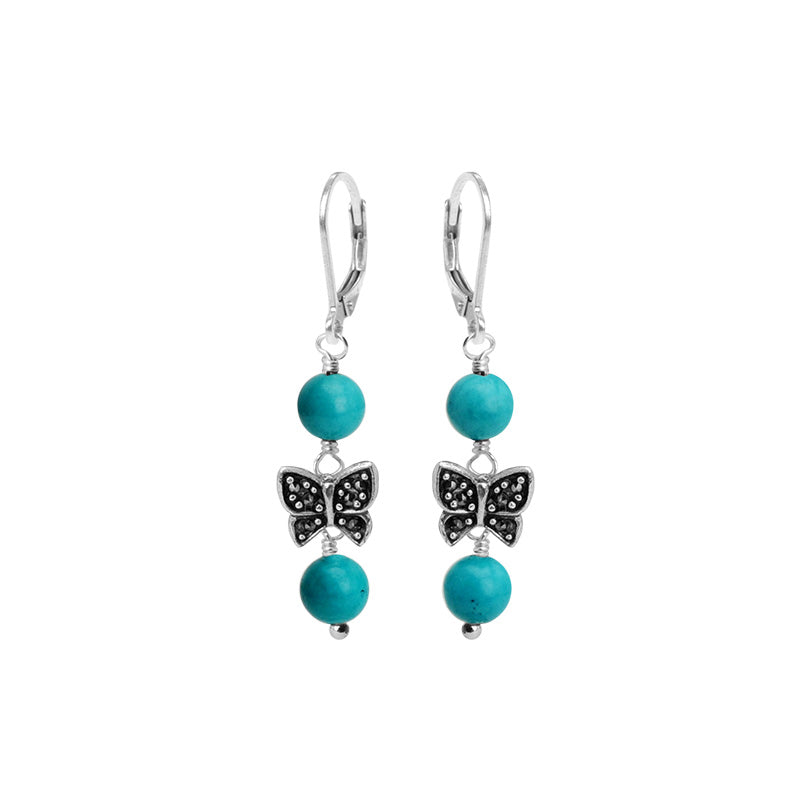 Darling Magnesite Turquoise and Marcasite Butterfly Sterling Silver Earrings