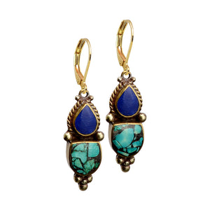 Nepal Lapis and Himalayan Turquoise Gold Plated Nepal Earrings with Gold Filled Hooks