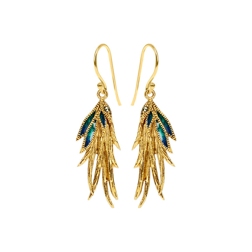 Lovely Colorful Enamel and Marcasite Gold Plated Parrot Feather Earrings