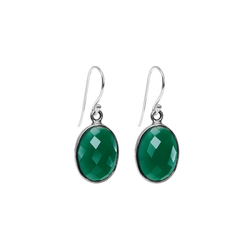 Deep Emerald Green Faceted Onyx Sterling Silver Earrings