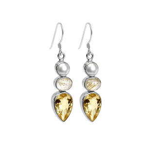 Gorgeous Gold Rutilated Quartz, Citrine and Fresh Water Pearl Statement Sterling Silver Earrings