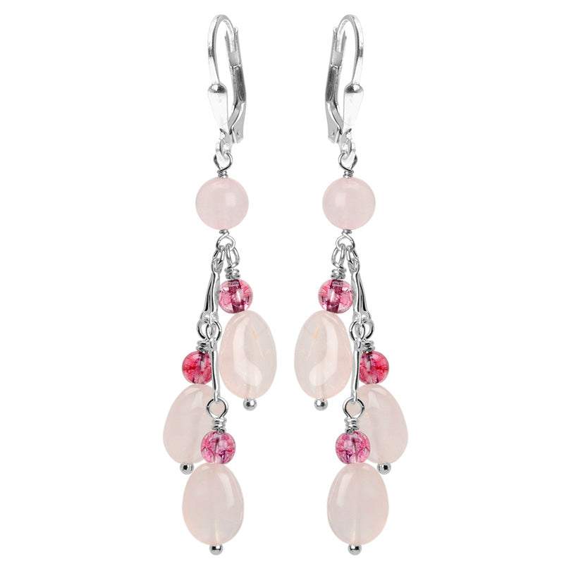 Romantic Cherry Blossom Pink Rose Quartz and Rosy Tourmaline Glass Accent Sterling Silver Earrings