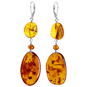 Luxurious Cognac Baltic Amber Sterling Silver Statement Earrings