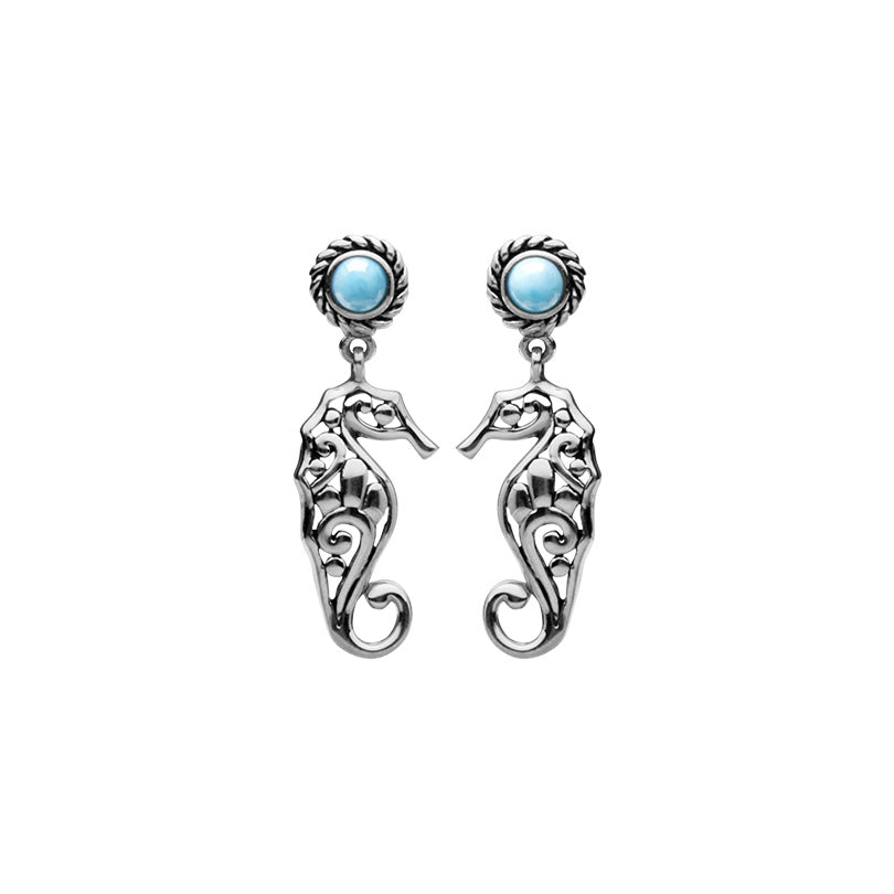 Larimar Seahorse Sterling Silver Earrings