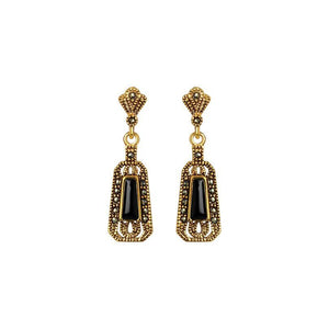 Petite La Reina 14kt Gold Plated Black Onyx and Marcasite Earrings
