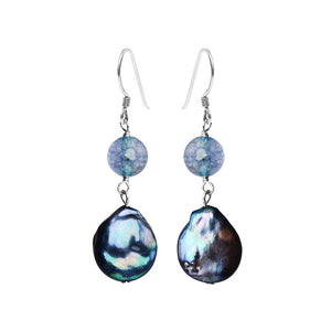 Brilliant Blue Coin Pearl and Blue Agate Sterling Silver Earrings