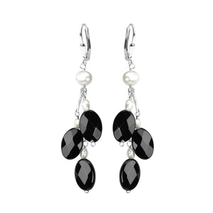 Fresh Water Pearl and Black Onyx Sterling Silver Earrings