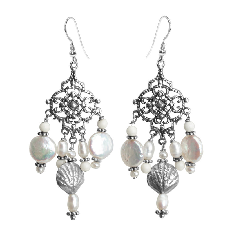 Gorgeous Vintage Inspired Fresh Water Coin Pearl Sterling Silver Earrings