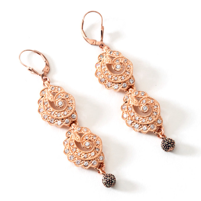 Sparkling 14KT Rose Gold Plated CZ Crystal Earrings Gold Filled Hooks
