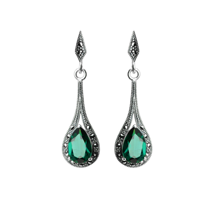 Sparkling Faceted Siberian Emerald Green Quartz and Marcasite Sterling Silver Earrings
