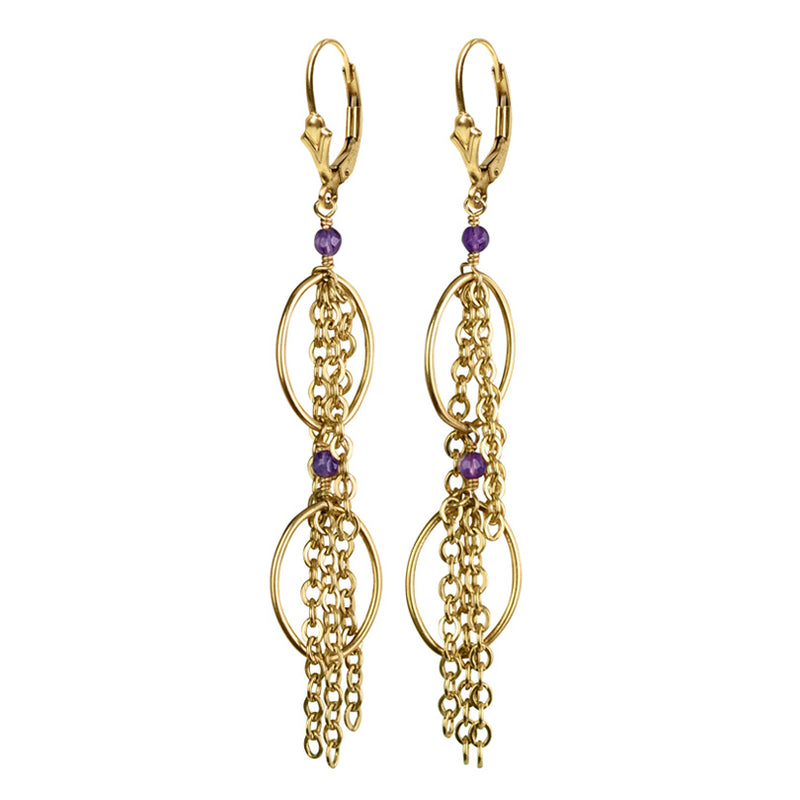 Amethyst Gold Filled Fringe Earrings