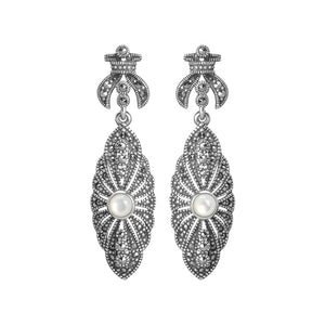 Elegant White Mother of Pearl and Marcasite Sterling Silver Earrings