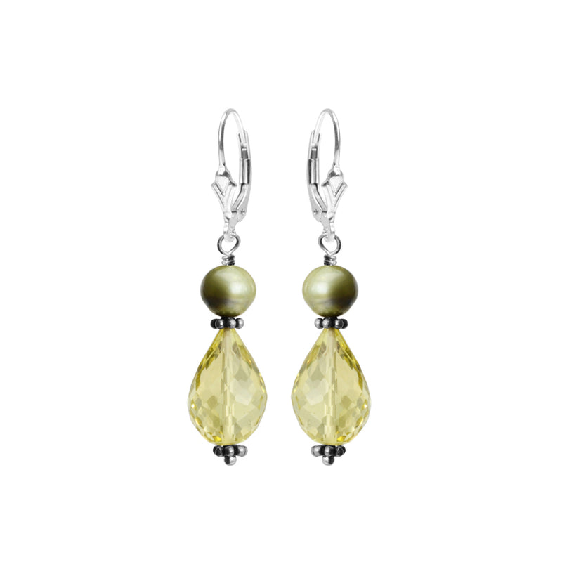 Really Pretty Faceted Lemon Quartz and Fresh Water Pearl Sterling Silver Earrings
