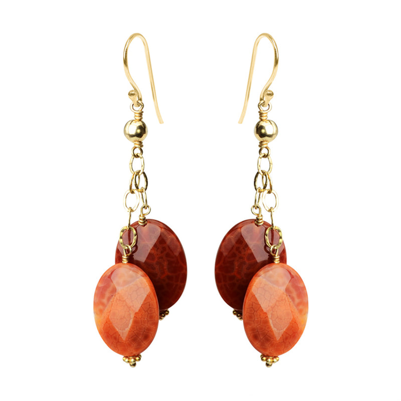 Rich Red Fire Agate Gold Filled Earrings
