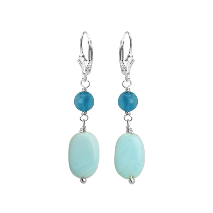Blue Peruvian Opal and Blue Agate Sterling Silver Earrings