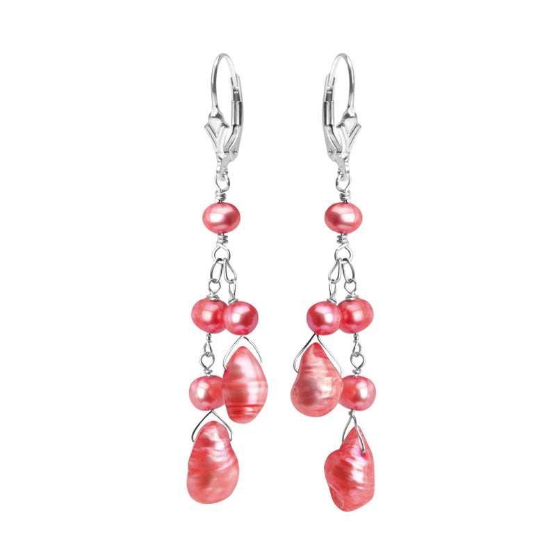 Gorgeous Color Fresh Water Pearl Sterling Silver Earrings