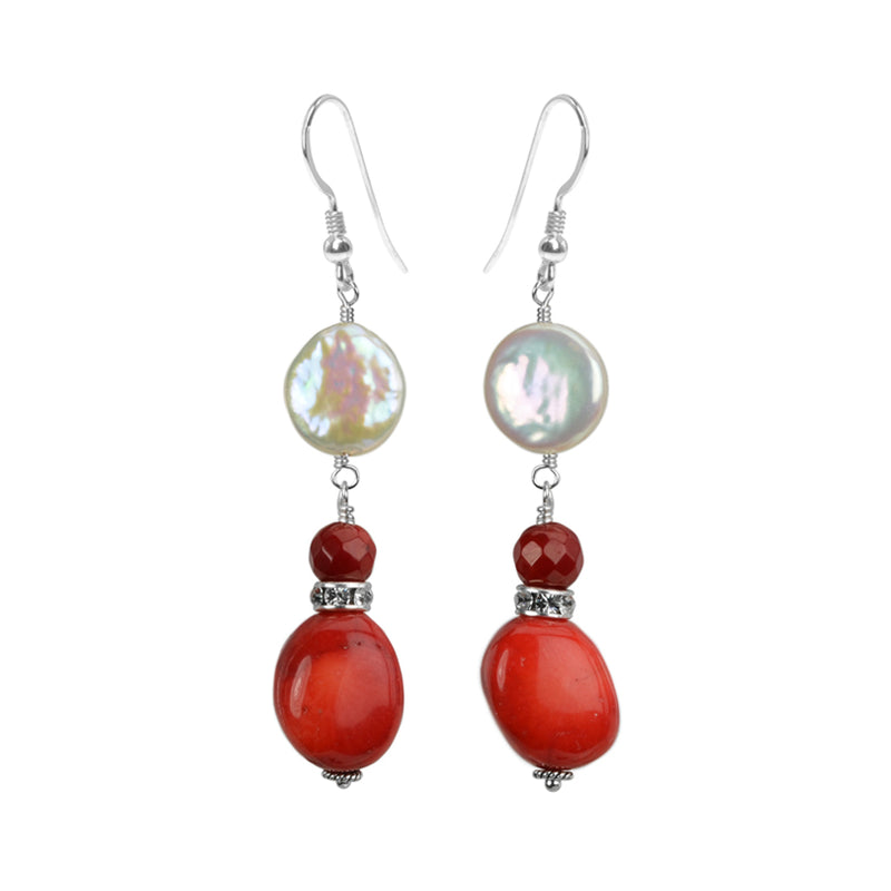 Elegant Coral and Coin Pearl Sterling Silver Earrings