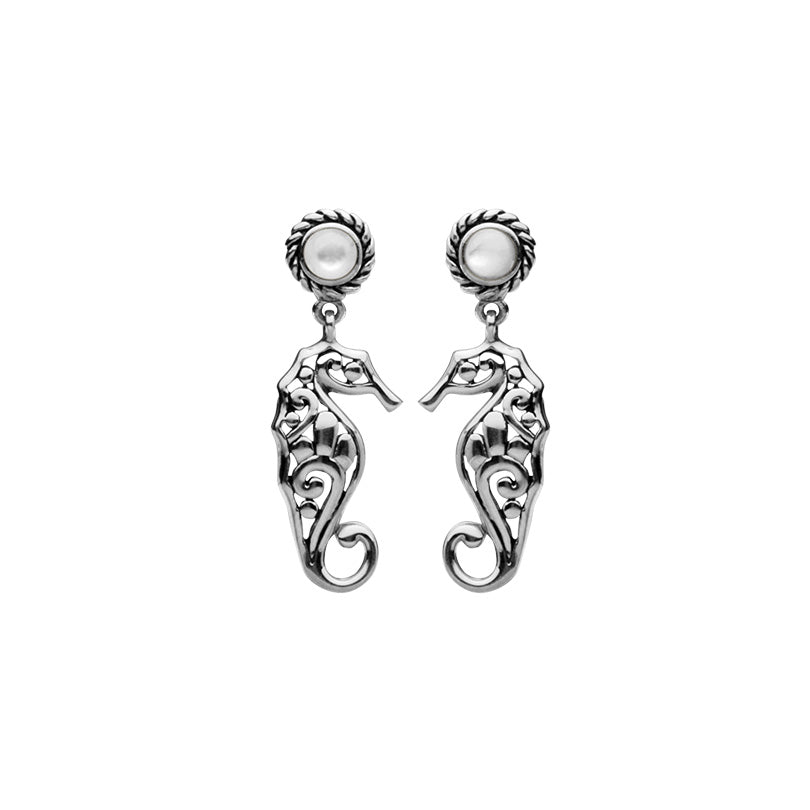 Seahorse Mother of Pearl Sterling Silver Earrings